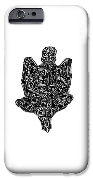 Abstract Digital Drawings iPhone Cases - Gargoyle iPhone Case by AR Teeter