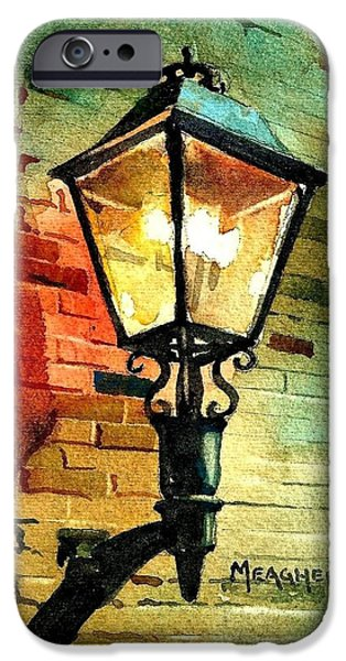 Gas Paintings iPhone Cases - Gas Lamp iPhone Case by Spencer Meagher