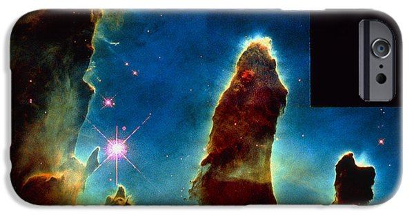 Stellar iPhone Cases - Gas Pillars In Eagle Nebula iPhone Case by Nasaesastscij.hester & P.scowen, Asu