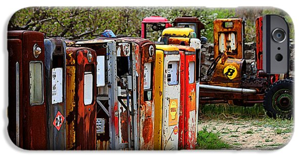 Old Cars iPhone Cases - Gas Pump Conga Line in New Mexico iPhone Case by Catherine Sherman