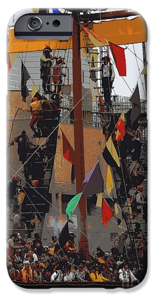Pirate Ship iPhone Cases - Gasparilla Ship Poster iPhone Case by Carol Groenen