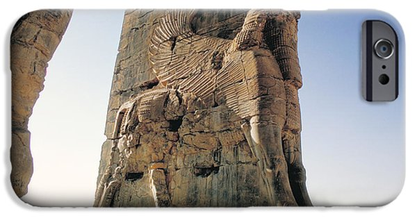 Ruin Sculptures iPhone Cases - Gate of All Nations in Persia iPhone Case by Carl Purcell