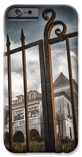 Ruins iPhone Cases - Gate to Haunted House iPhone Case by Carlos Caetano