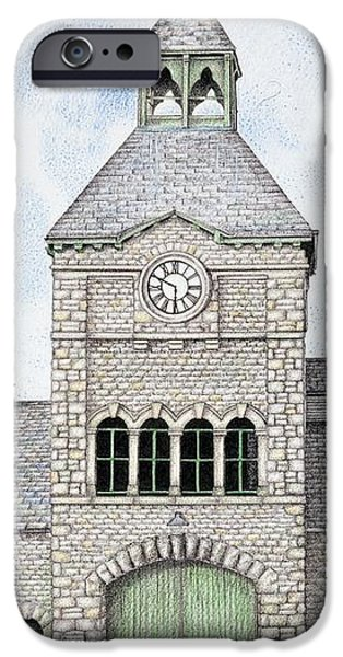 Architecture Drawings iPhone Cases - Gatehouse Clock   Caton Road  Lancaster   Lancashire iPhone Case by Sandra Moore
