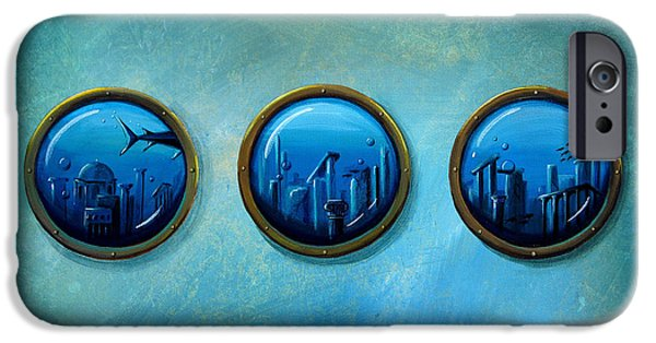 Shark Paintings iPhone Cases - Gateway To Antiquity iPhone Case by Cindy Thornton