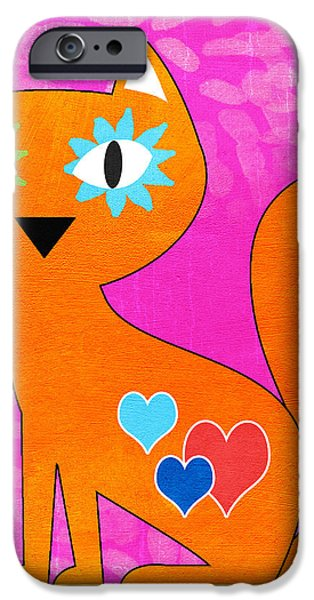 Corporate Art iPhone Cases - Gato iPhone Case by Linda Woods