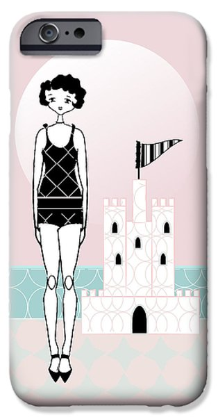 Sand Castles Drawings iPhone Cases -  Pink Sand Castle Day 1920s Gatsby Flapper Girl iPhone Case by Cecely Bloom