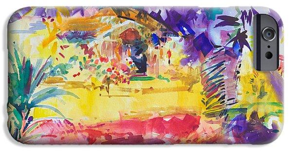 Watercolour Art iPhone Cases - Gauguins Garden iPhone Case by Peter Graham