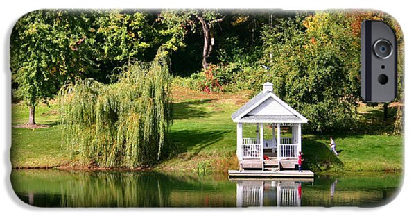 Willow Lake iPhone Cases - Gazebo Reflection iPhone Case by Kristin Elmquist