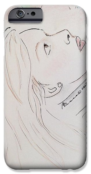 Lips iPhone Cases - Gazing Up at Chagall  iPhone Case by Barbara Chase
