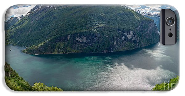 Norway iPhone Cases - Geirangerfjord in panorama iPhone Case by IPics Photography