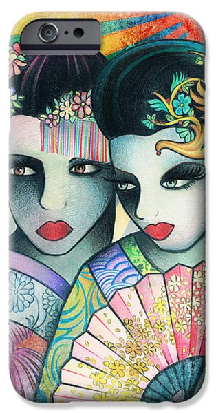 Sun Rays Drawings iPhone Cases - Geisha Girls with a Fan iPhone Case by McKenna Sato