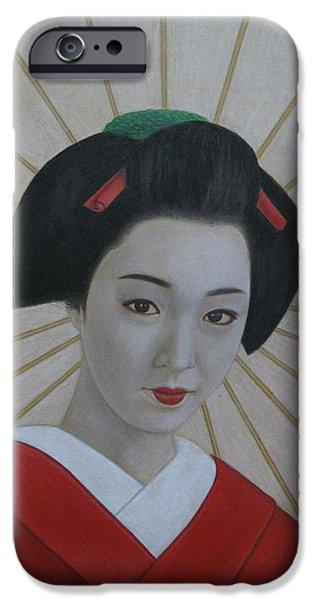 Umbrella Pastels iPhone Cases - Geisha iPhone Case by Lynet McDonald