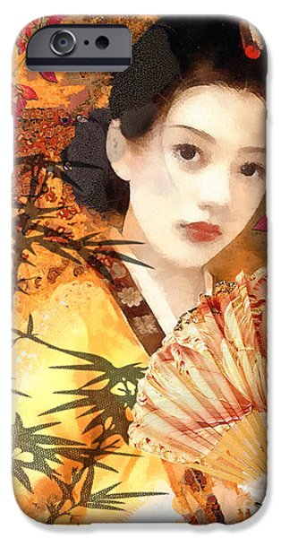 Mo T iPhone Cases - Geisha with Fan iPhone Case by Mo T