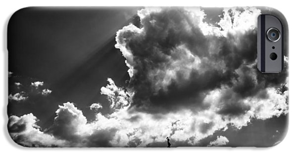Drama iPhone Cases - Gellert hill with dramatic cloud Budapest black and white iPhone Case by Matthias Hauser