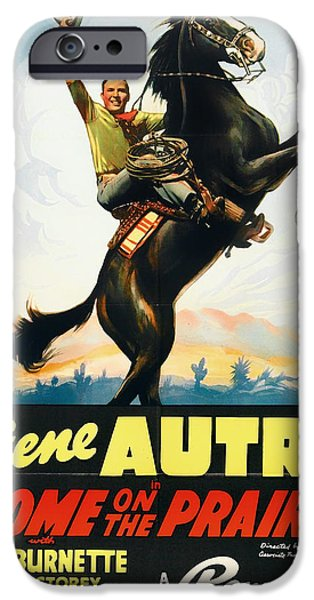 Posters On Mixed Media iPhone Cases - Gene Autry in Home on the Prairie 1939 iPhone Case by Mountain Dreams