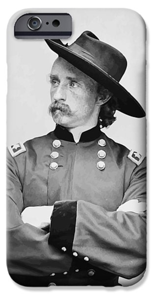 Patriots iPhone Cases - General Custer iPhone Case by War Is Hell Store