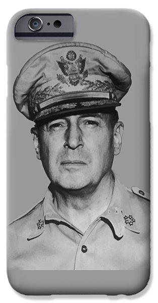 Ww1 Digital iPhone Cases - General Douglas MacArthur iPhone Case by War Is Hell Store