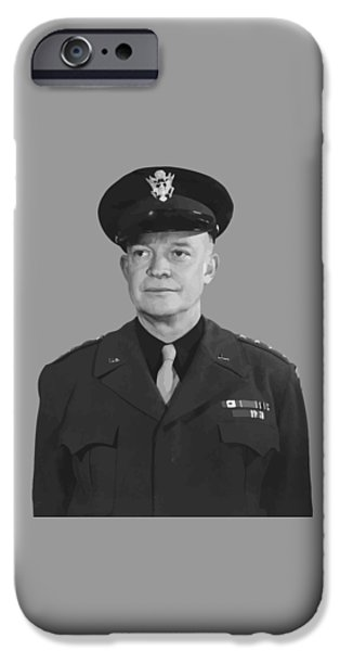 Patriots Day iPhone Cases - General Dwight D. Eisenhower iPhone Case by War Is Hell Store