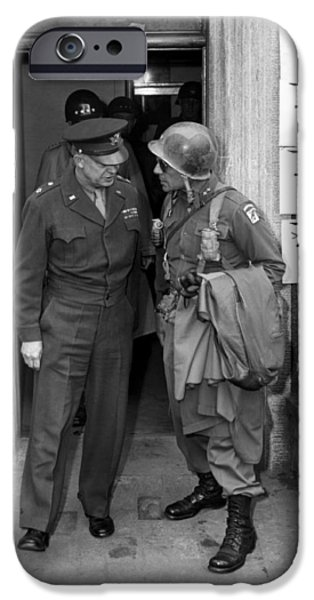 President Photographs iPhone Cases - General Eisenhower and General Ridgway  iPhone Case by War Is Hell Store