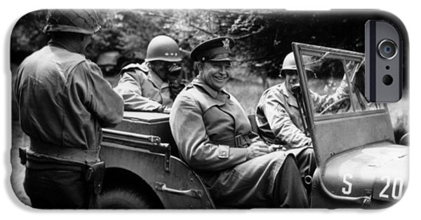 Jeep iPhone Cases - General Eisenhower In A Jeep iPhone Case by War Is Hell Store