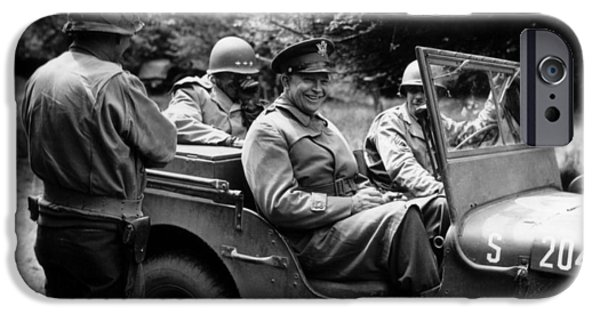 President Photographs iPhone Cases - General Eisenhower In A Jeep iPhone Case by War Is Hell Store