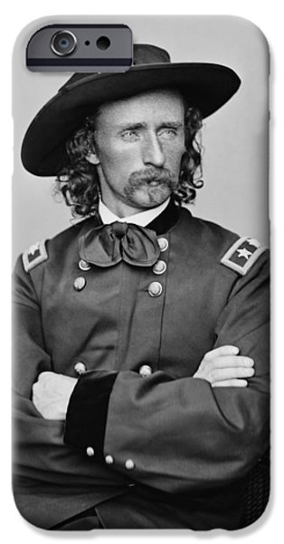 Patriots Digital Art iPhone Cases - General George Armstrong Custer iPhone Case by War Is Hell Store