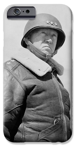 Ww1 iPhone Cases - General George S. Patton iPhone Case by War Is Hell Store