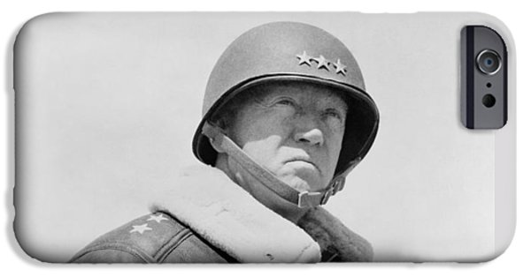 World Wars iPhone Cases - General George S. Patton iPhone Case by War Is Hell Store