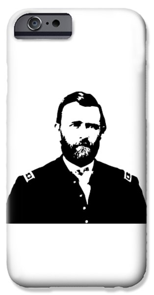 U.s Heroes iPhone Cases - General Grant Black and White  iPhone Case by War Is Hell Store