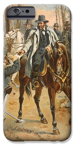 Horseback Riding iPhone Cases - General Grant in the Wilderness Campaign 5th May 1864 iPhone Case by Henry Alexander Ogden
