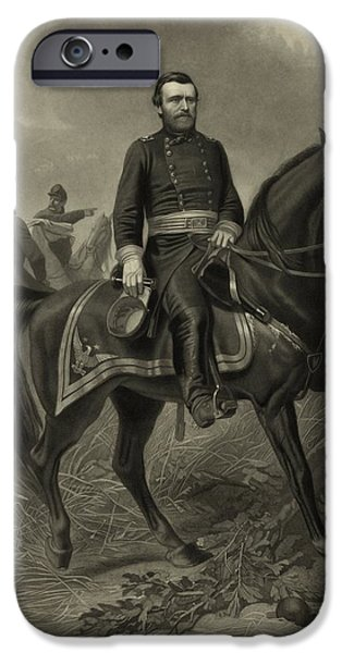War Drawings iPhone Cases - General Grant On Horseback  iPhone Case by War Is Hell Store