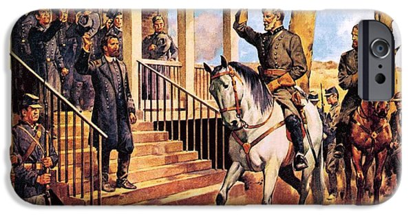 The North iPhone Cases - General Lee and his horse Traveller surrenders to General Grant by McConnell iPhone Case by James Edwin
