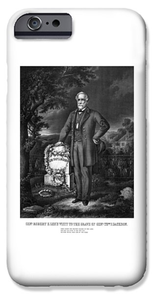 Grave iPhone Cases - General Lee Visits The Grave Of Stonewall Jackson iPhone Case by War Is Hell Store