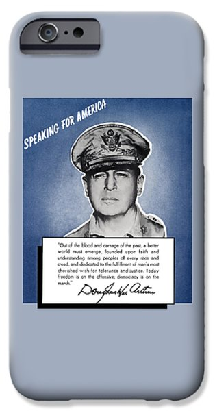 Patriots Mixed Media iPhone Cases - General MacArthur Speaking For America iPhone Case by War Is Hell Store