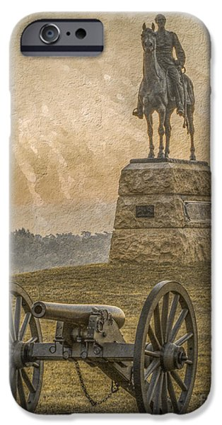 Year Of The Horse iPhone Cases - General Meade Statue and Cannon Gettysburg iPhone Case by Randy Steele