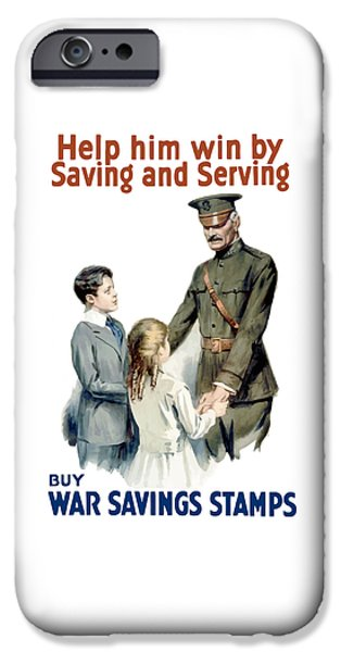 Savings iPhone Cases - General Pershing Buy War Saving Stamps iPhone Case by War Is Hell Store