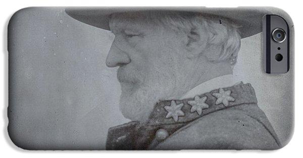 Battle Of Gettysburg Digital iPhone Cases - General Robert E Lee Portrait  iPhone Case by Randy Steele
