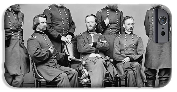 Leaders iPhone Cases - General Sherman and His Staff  iPhone Case by War Is Hell Store