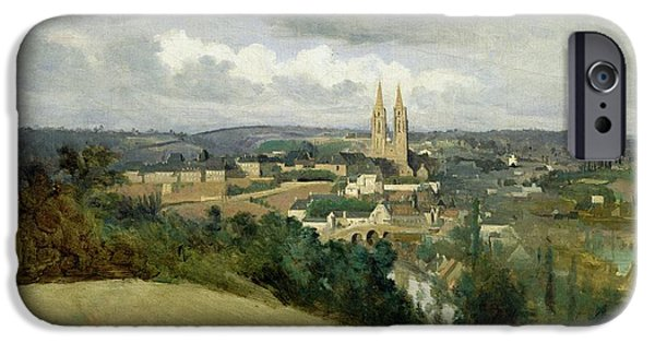 1796 iPhone Cases - General View of the Town of Saint Lo iPhone Case by Jean Corot
