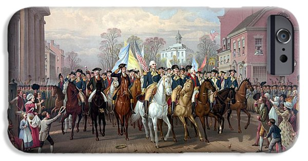 War Drawings iPhone Cases - General Washington Enters New York iPhone Case by War Is Hell Store