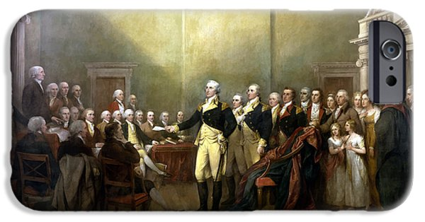 American Revolution iPhone Cases - General Washington Resigning His Commission iPhone Case by War Is Hell Store