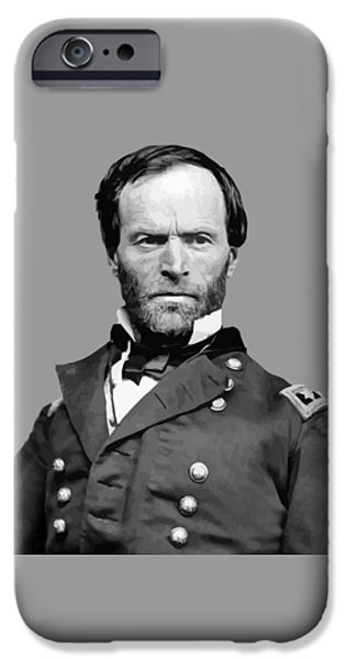 Soldiers Digital iPhone Cases - General William Tecumseh Sherman iPhone Case by War Is Hell Store