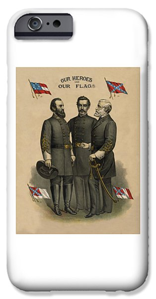 States iPhone Cases - Generals Jackson Beauregard and Lee iPhone Case by War Is Hell Store