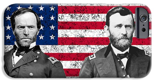 North Sea iPhone Cases - Generals Sherman and Grant  iPhone Case by War Is Hell Store