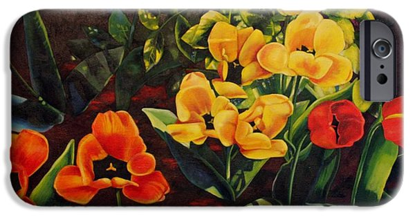 Garden Scene Paintings iPhone Cases - Gently Inhale the Tulips iPhone Case by Tamara Kulish