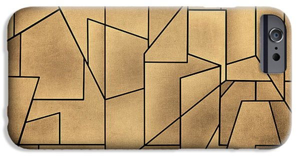 Dave Mixed Media iPhone Cases - Geometric Abstraction III Toned iPhone Case by David Gordon