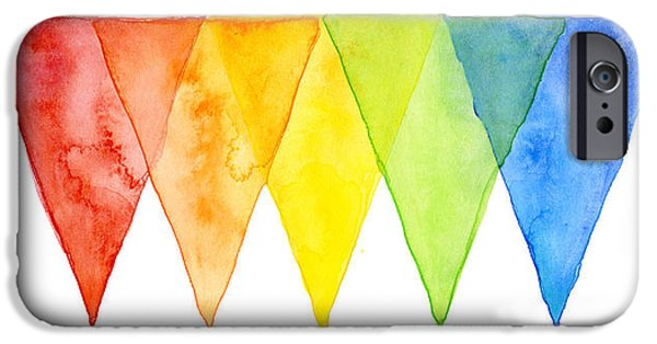 Geometric Shape iPhone Cases - Geometric Watercolor Pattern Rainbow Triangles iPhone Case by Olga Shvartsur