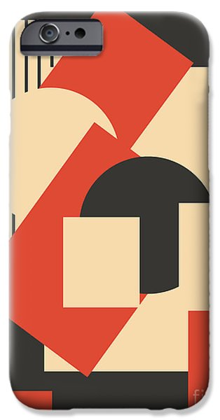 Modern Abstract iPhone Cases - Geometrical abstract art deco mash-up  iPhone Case by Heidi De Leeuw