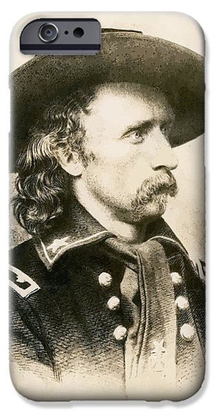 U.s Heroes iPhone Cases - George Armstrong Custer  iPhone Case by War Is Hell Store